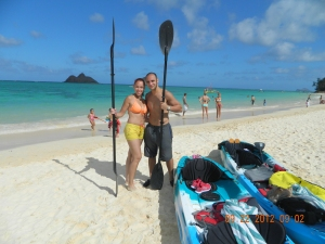 Kayaking into the small Islands behind us in Lenikai Beach Hawaii!