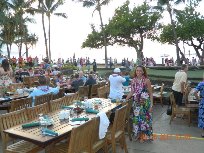 My wife getting ready to eat in a Luau in Maui, Hawaii!