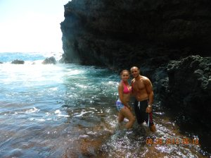 Inside the red sand beach in Maui, Hawaii!