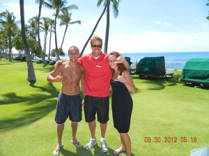 With our surfing instructor Scott in Kaanapali beach, Maui.