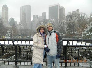 This picture was taken in Central Park in front of the outdoor Ice-Skating Ring!