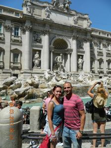 Walking the streets of Rome,italy by the Fountain of Trevi!