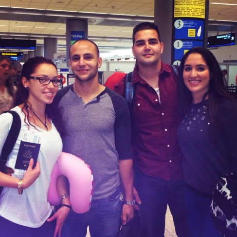 In Miami int. airport before leaving on our trip to Hong Kong and Thailand.
