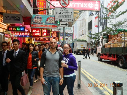 Walking around Times Square Hong Kong.