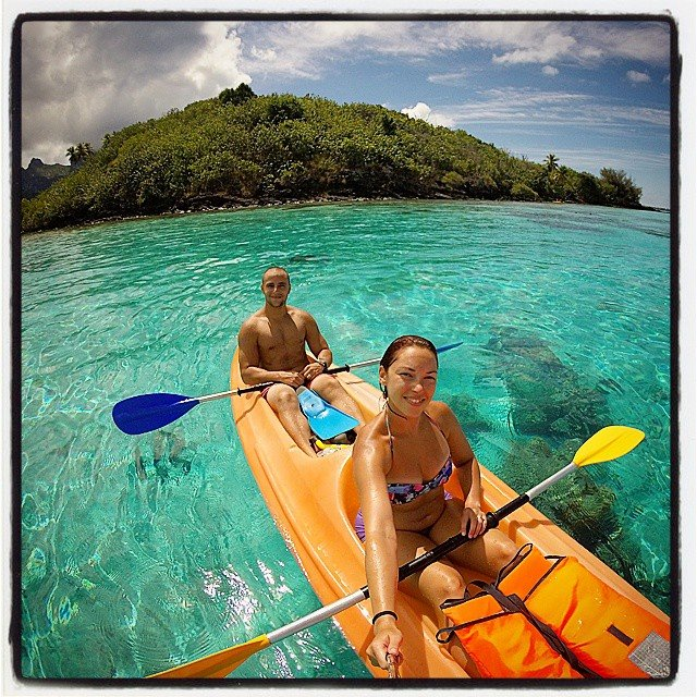 Kayaking to the Coral Gardens from the Intercontinental Le Moana Bora Bora.