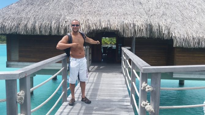 In front of our Over-water villa at The Intercontinental and Thalasso in BORA BORA.